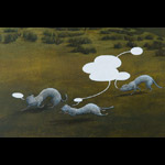 Painting detail of 3 weasels running together with blank speech bubbles