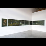 Installation view of 10 sequential paintings mounted on  east and south wall of gallery