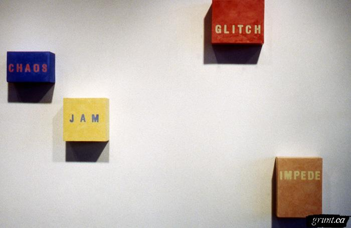 2000 01 11 Lisa Fedorak Drawing A Blank installation detail 4 colour text paintings words chaos jam glitch impede